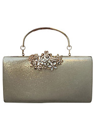 cheap -Women's Bags PU Evening Bag Buttons Crystal Detailing for Wedding Event/Party All Seasons Gold Black Silver