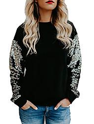 preiswerte -Damen Pullover Alltag Ausgehen Freizeit Street Schick Patchwork Rundhalsausschnitt Mikro-elastisch Polyester Langärmelige Frühling Herbst