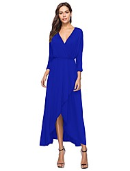 cheap -Women's Plus Size Boho Batwing Sleeve Loose Loose Swing Dress - Solid Color Blue, Split High Waist Asymmetrical V Neck