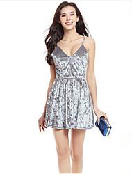 cheap -Women's Velvet A Line Dress - Solid Color Backless Strap