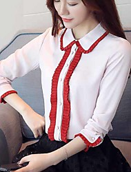 cheap -Women's Daily Work Simple Active Spring Fall Blouse,Solid Shirt Collar Long Sleeve Polyester