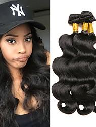 billige -3 Bundler Brasiliansk hår Krop Bølge Menneskehår Menneskehår, Bølget Menneskehår Vævninger Menneskehår Extensions