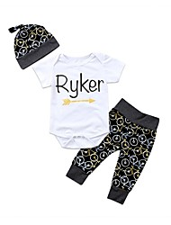 cheap -Baby Unisex Daily Sports Geometric Print Clothing Set,Cotton Spring Summer Cute Casual Short Sleeve White