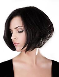 abordables -Perruques capless à cheveux humains Cheveux humains Droit Coupe Carré Ligne de Cheveux Naturelle Fabriqué à la machine Perruque