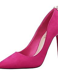 preiswerte -Damen Schuhe PU Frühling Sommer Komfort Pumps High Heels Stöckelabsatz Spitze Zehe Geschlossene Spitze Imitationsperle Niete für Party &