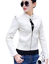 abordables -Veste de cuir Grandes Tailles Femme-Couleur Pleine Basique Mao