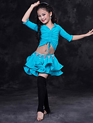 cheap -Belly Dance Outfits Performance Spandex Ruching Half Sleeves Dropped Skirts Top