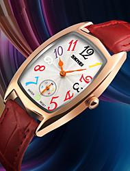 preiswerte -SKMEI Damen Quartz Armbanduhr Japanisch Wasserdicht Armbanduhren für den Alltag Echtes Leder Band Luxus Freizeit Schwarz Rot
