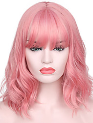 Недорогие -Парики из искусственных волос Жен. Волнистые Розовый С чёлкой Искусственные волосы Природные волосы / С Bangs Розовый Парик Короткие Без шапочки-основы Розовый