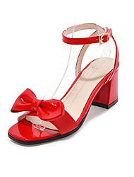 cheap -Women's Shoes Leatherette Summer Ankle Strap Sandals Chunky Heel Open Toe Bowknot for Casual Party & Evening Black Beige Red
