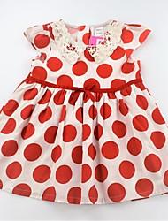 preiswerte -Mädchen Kleid Alltag Punkt Baumwolle Sommer Kurzarm Niedlich Aktiv Schwarz Rote