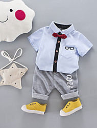 cheap -Boys' Daily Sports School Holiday Going out Solid Galaxy Print Clothing Set,Cotton Acrylic All Season Short Sleeve Simple Vintage Cute