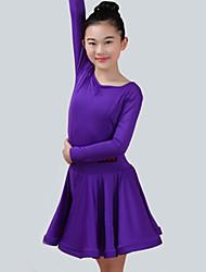 preiswerte -Latein-Tanz Kleider Mädchen Leistung Elasthan Horizontal gerüscht Langarm Kleid