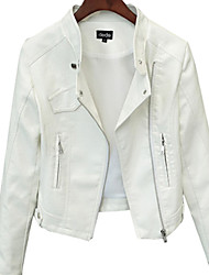 cheap -Women's Leather Jacket - Solid, Modern Style