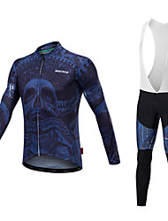 cheap -Malciklo Men's Long Sleeve Cycling Jersey with Bib Tights - Blue and White / Blue / Black Bike Clothing Suit, Thermal / Warm, Quick Dry, Anatomic Design Lycra / Stretchy / High Elasticity