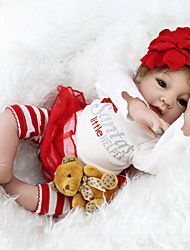 baratos -NPK DOLL Bonecas Reborn Bebê 22 polegada Silicone / Vinil - realista, Cílios aplicados à mão, Nozes vedadas e seladas de Criança Para Meninas Dom / CE / Tom de pele natural / Cabeça Floppy