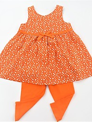 cheap -Girls' Daily School Polka Dot Clothing Set, Cotton Summer Sleeveless Casual Active Blue Orange