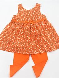 Pige Tøjsæt Daglig Skole Prikker, Bomuld Sommer Uden ærmer Afslappet Aktiv Blå Orange