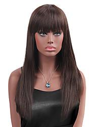 economico -Capelli sintetici Parrucche Dritto Con frangia Senza tappo Parrucca di carnevale Parrucca di Halloween Parrucca naturale Lungo Marrone