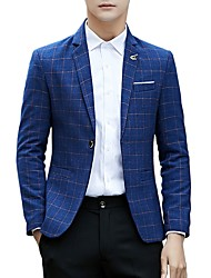 cheap -Men's Business Casual Slim Blazer-Plaid,Print Notch Lapel / Please choose one size larger according to your normal size. / Long Sleeve