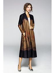 baratos -Feminino Casaco Longo Casual Simples Outono,Sólido Estampado Longo Algodão Poliéster Decote V Manga Longa