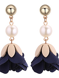 cheap -Women's Floral Flower Imitation Pearl Drop Earrings - Floral / Fashion Green / Pink / Dark Navy Earrings For Daily