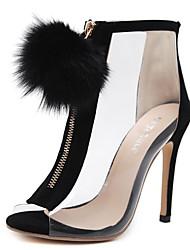 Mujer Zapatos Malla Otoño Confort Botas Tacón Cuña Blanco / Negro / Almendra jdkyPdi6
