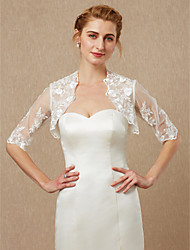 cheap -Half Sleeves Lace Tulle Wedding Party / Evening Women's Wrap With Beading Appliques Lace Shrugs