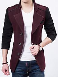 cheap -Men's Blazer-Color Block,Patchwork / Long Sleeve / Work
