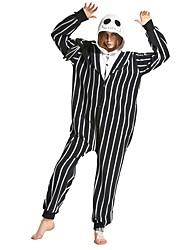 abordables -Calavera Pijamas de una pieza Disfraz Poliéster Negro / Blanco Cosplay por Adulto Ropa de Noche de los Animales Dibujos animados Víspera