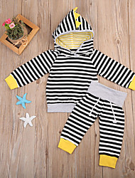 cheap -Baby Unisex Daily Sports Striped Clothing Set,Cotton Spring Fall Cute Casual Long Sleeve Black