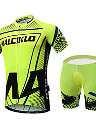 abordables -Malciklo Hombre Manga Corta Maillot de Ciclismo con Shorts - Verde Británico Bicicleta Sets de Prendas, Almohadilla 3D, Secado rápido,