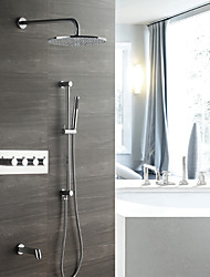 baratos -contemporâneo montado na parede chuveiro chuveiro chuveiro incluído válvula cerâmica termostática quatro alças cinco furos cromo, torneira do chuveiro