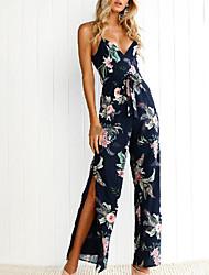 abordables -Femme Sortie Vacances Bohème Mince Combinaison-pantalon - Dos Nu Fendu, Fleur Taille haute A Bretelles Ample