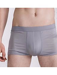 cheap -Men's Normal Stretchy Solid Boxers Underwear Medium, Cotton One-piece Suit Navy Blue Gray Purple