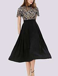 cheap -Women's Basic A Line Dress - Floral, Lace Patchwork
