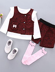 cheap -Girls' Daily School Solid Patchwork Jacquard Clothing Set, Cotton Spring Fall Long Sleeves Cute Blue Wine