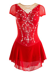 cheap -Figure Skating Dress Women's / Girls' Ice Skating Dress Red Rhinestone / Sequin High Elasticity Performance / Practise / Leisure Sports Skating Wear Anatomic Design, Breathable, Handmade Patchwork
