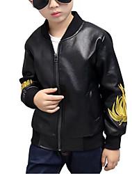 povoljno -Dječaci Special Leather Types Žakard Dnevno Proljeće Jesen Dugih rukava Bluza Ležerne prilike Crn