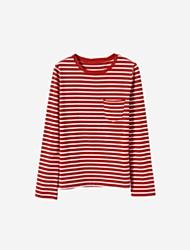 abordables -T-shirt simple automne pour femmes au printemps, col rond à manches longues en coton