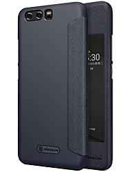 Недорогие -Кейс для Назначение Huawei P10 Plus P10 с окошком Флип Матовое Авто Режим сна / Пробуждение Чехол Сплошной цвет Твердый Кожа PU для P10