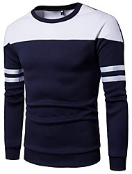 cheap -Men's Long Sleeve Slim Sweatshirt - Color Block Round Neck / Please choose one size larger according to your normal size.