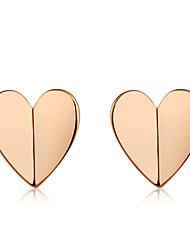 abordables -Mujer Pendientes cortos - Rosa Oro Plateado Corazón Simple, Moda, Elegante Oro Rosa Para Fiesta / Noche / Oficina y carrera