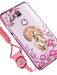 cheap -Case For Huawei Honor 7X Shockproof Rhinestone Ring Holder Back Cover Flower Soft Silicone for Huawei Honor 5X