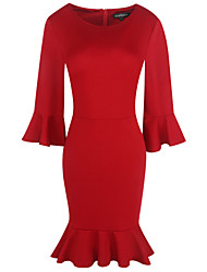 cheap -Women's Casual Sheath Dress - Solid Colored, Ruffle