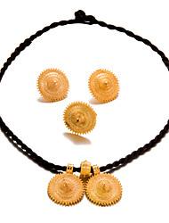 preiswerte -Damen vergoldet Schmuck-Set 1 Halskette 1 Ring Ohrringe - Erklärung Modisch Kreisform Schmuckset Für Hochzeit Party