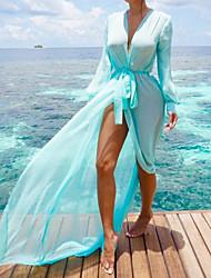 Недорогие -Жен. Богемный Погруженный декольте Синий Оранжевый Лиловый Завышенная Накидка Купальники - Однотонный Бант M L XL / Сексуальные платья