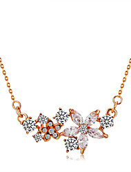 cheap -Women's Crystal / Cubic Zirconia Pendant Necklace  -  Rose Gold, Crystal, Zircon Flower Classic, Fashion Gold Necklace For Ceremony, Formal