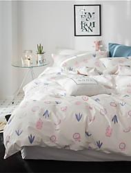 baratos -Conjunto de Capa de Edredão Floral 4 Peças 100% algodão Impressão Reactiva 100% algodão 1pç  Capa de Edredon Fronha 2pçs 1pç de Leçol Raso