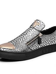 abordables -Homme Chaussures Cuir Printemps Automne Moccasin Mocassins et Chaussons+D6148 Rivet pour Décontracté De plein air Noir Argent